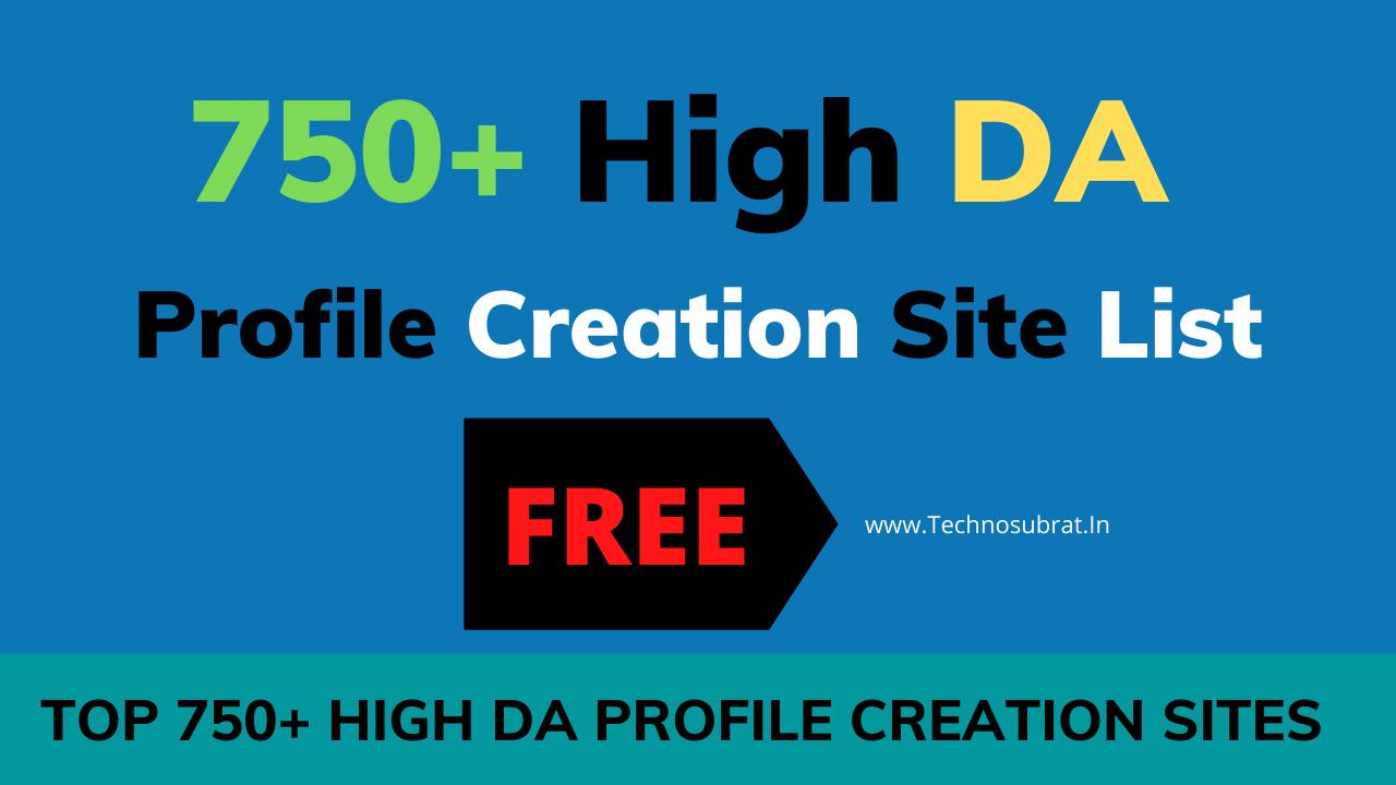 Top 750 High DA Profile Creation Sites List images